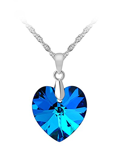 PMANY Heart of the Ocean Blue Pendant Necklace Clear Crystal Rhinestone Women Girls Heart Jewelry - Shades Wholesale Lamp