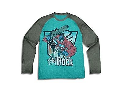 """Transformers Big Boys' """"# I ROCK"""" Long Sleeve Raglan Tee"""