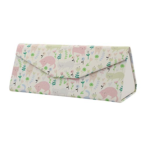 REAL SIC Adorable Animal Glasses Case - Magnetic Folding Hard Case for All Glasses (Cats) (Triangle Glasses Case)
