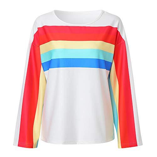 0515f966a5 vermers Clearance Womens Fashion Rainbow Stripes Print Sweatshirt - Women  Casual O-Neck Long Sleeve