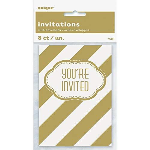 Golden Birthday Party Invitations, 8ct