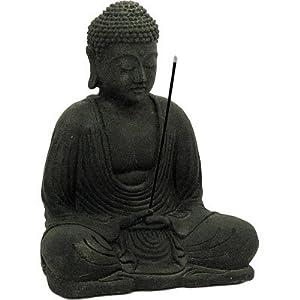 Volcanic Stone Statue & Incense Holder Meditating Buddha Black 8.5″ H