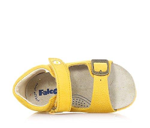 FALCOTTO - Sandale jaune en cuir, idéale pour ramper et pour les premiers pas, douce et confortable, garçon, garçons