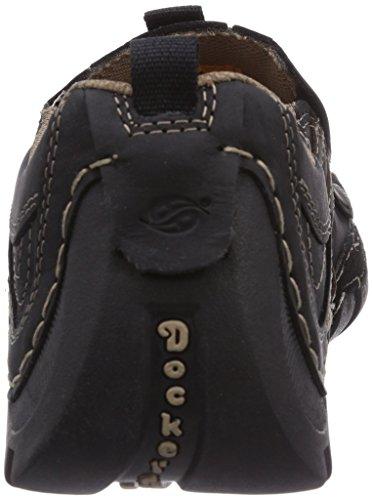Dockers by Gerli 20AY005 - mocasines de cuero hombre negro - Schwarz (schwarz/schoko 136)