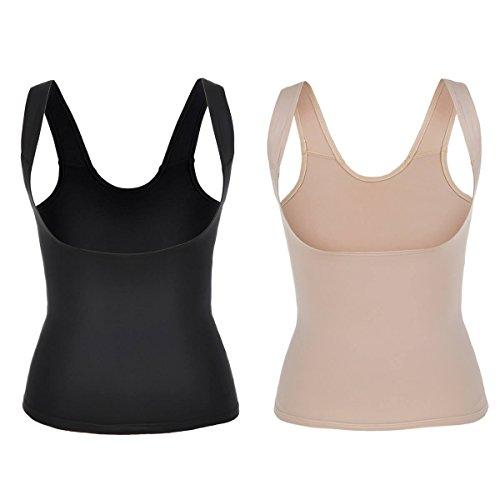 La Isla Women's 2 Pack Shapewear Plain Firm Control Open-Bust Shaping Camisole Mixed 2 Colors L