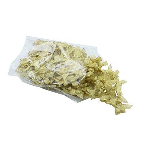 TOPMO 200PCS Mini Gold Satin Ribbon Bows Crafts Party Decoration Artificial Decor Wedding Card Scrapbook Souvenir Gift Diy ()