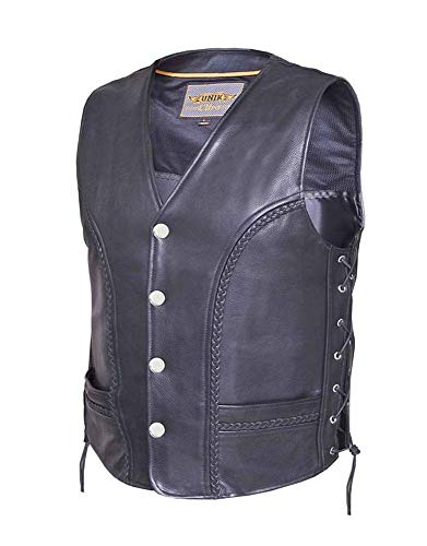 Ultra Men's Motorcycle Leather Vest with Buffalo Nickel Snaps,Black,Size - Medium