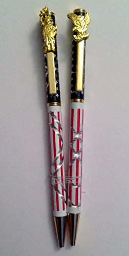 Statue Of Liberty Pens (2x United States of America USA American Flag Patriotic Souvenir Ballpoint Pens with Eagle & Statue of Liberty Twisted Caps.)