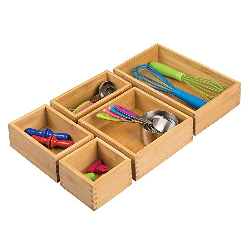 mDesign Bamboo Kitchen Cabinet Drawer Organizer Stackable Tray Bin - Eco-Friendly, Multipurpose - Use in Drawers, on Countertops, Shelves or in Pantry - Varied Sizes, Set of 5- Natural Wood Finish