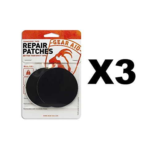 McNett Gear Aid Tenacious Tape Repair Patches Clear & Black Strong Nylon(3-Pack) by Gear Aid