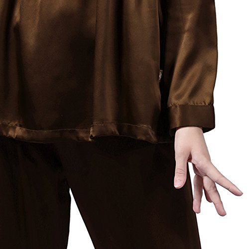 LULUSILK Conjunto de Pijama Largo de Seda 22 Momme Escote V con Cordón Chocolate