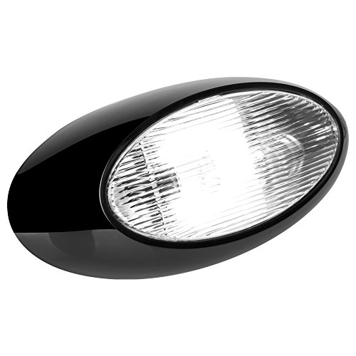 12 Quot Led Oval Scare Porch Light Clear Lens Black Base