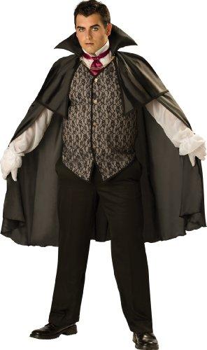 Cape Adult Black Midnight (InCharacter Costumes, LLC Men's Midnight Vampire Costume, Black,)