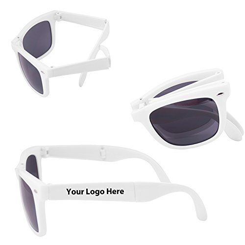 Folding Glossy Sunglasses - 100 Quantity - $3.35 Each - PROMOTIONAL PRODUCT / BULK / BRANDED with YOUR LOGO / - Promotional Rubberized Sunglasses