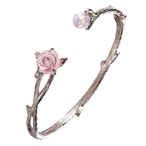 Jewever 925 Sterling Silver Pink Rose Quartz Rose Flower Bracelet Gemstone for Lover for Women Jewelry Gift