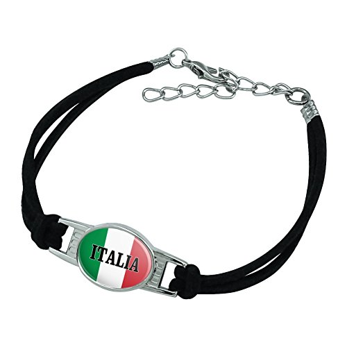 Italia Italy Italian Flag Novelty Suede Leather Metal Bracelet - Black