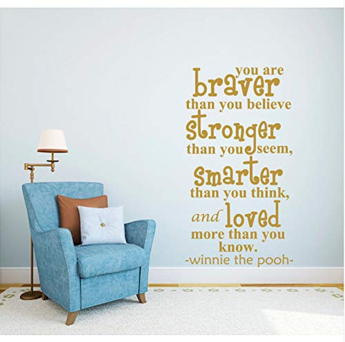 (fushoulu 42X76Cm Quote Winnie The Pooh Saying Kids Vinyl Stickers Home Bedroom Living Room Decor Wall Decor Poster DIY Viniyl Kids)