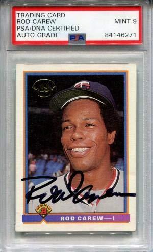 Rod Carew Autographed 1991 Bowman Card (PSA) - Baseball Slabbed Autographed Cards 1991 Bowman Autographed Card