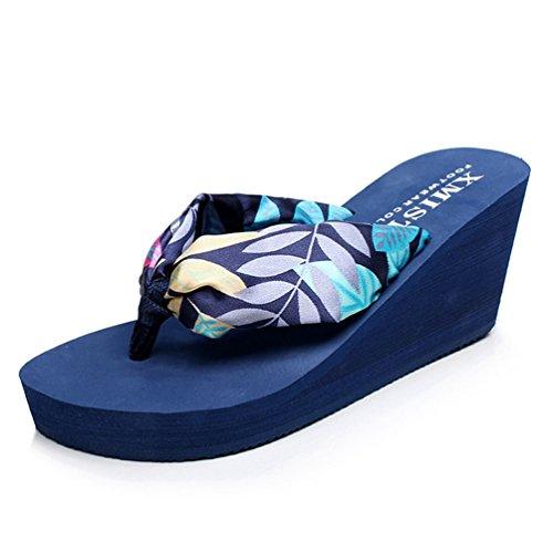 Mode Plage Talons de Antidérapantes Sandale Bleues Femmes Sandales Feuilles Plates Tongs Ouvertes qSnzxwz4