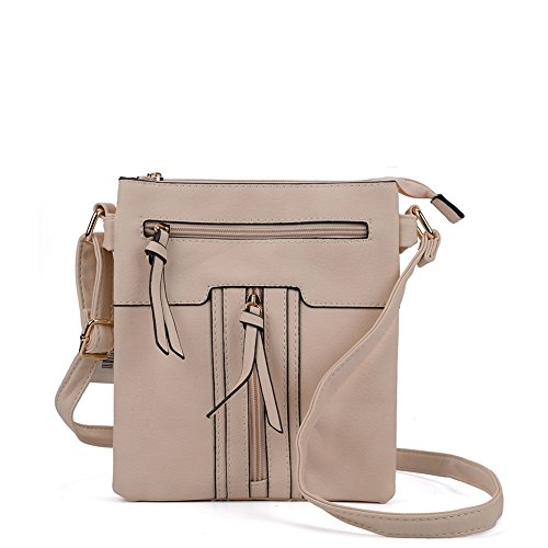 Fashion Beige SALLY Quality Leather Bag Multiple High zipped PU Women YOUNG Body Cross pockets aqAqx5S