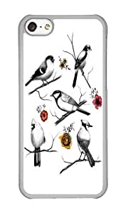 Apple Iphone 5C Case,WENJORS Cool BIRDS FLOWERS Hard Case Protective Shell Cell Phone Cover For Apple Iphone 5C - PC Transparent