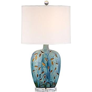 Devan Vines Blue Ceramic Table Lamp With Night Light Amazon Com