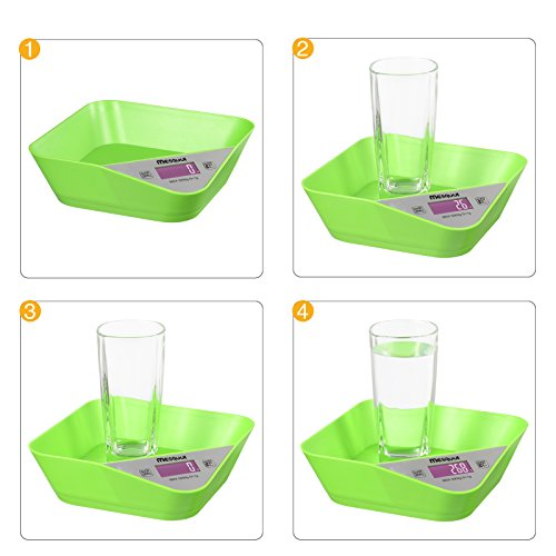 Mesqool Smart Weigh Digital Multi-funcation Tray-design Kitchen and Food Scale with Bowl(Natural Green)