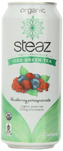Organic Iced Tea (Steaz Iced Tea Can, Green Blueberry Pomegranate, Gluten Free, 16-ounces (Pack)