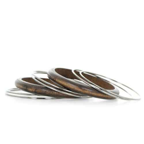 Set of Eight Wood and Gunmetal Gray Bangle Bracelets, 7 Inches