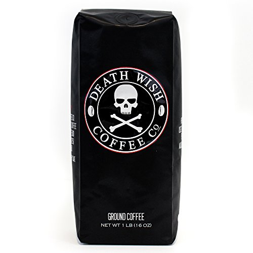 Death Wish Ground Coffee, The World's Strongest Coffee, Fair Trade and USDA Certified Organic, 16 (Brew Pot Coffee)