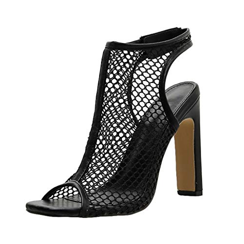 Women Heeled Sandals Peep Toe Sling Back Pumps Mesh See Through Sexy Dress Shoes Nightclub Heeled Shoes by Lowprofile Black ()