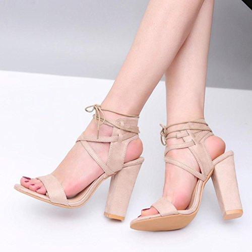 HUHU833 Women Ladies Block Platforms Bandage Shoes Buckle High Heels Sandals Beige zfHKc8Cc0