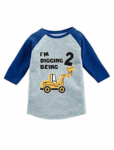 Tstars 2nd Birthday Gift Construction Party 3/4 Sleeve Baseball Jersey Toddler Shirt