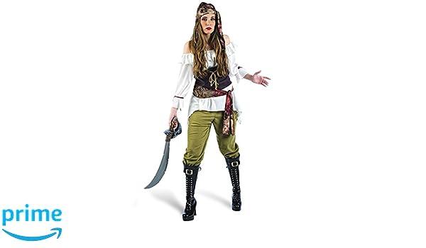 Elbenwald Disfraz de Pirata Completo para Mujeres 5 Piezas Blusa ...