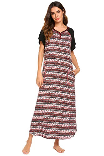 Ekouaer Women's Long Plaid Nightgown Plus Size Sleepwear Lounge Dresses (Plaid, Small)