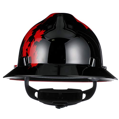 MSA 10082235 V-Gard Hard Hat Front Brim with Ratchet Suspension, Standard, Black w/ Red Maple Leaf: Amazon.com: Industrial & Scientific