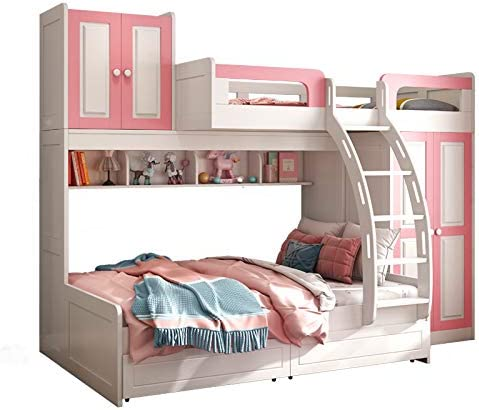 Mother Chest Bed Solid Wood bunk Bed Dislocation bunk Bed Multi-Function Combination Bed Children Pink Bed up and Down