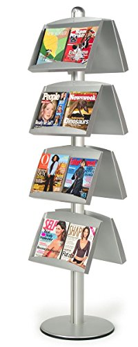 Aluminum Literature Display Stand with 8 Height-Adjustable Steel Pockets, Double-Sided, 75.5 inches tall - Silver by Displays2go