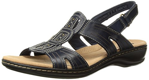 - CLARKS Women's Leisa Vine Platform, Navy Leather, 7.5 Medium US