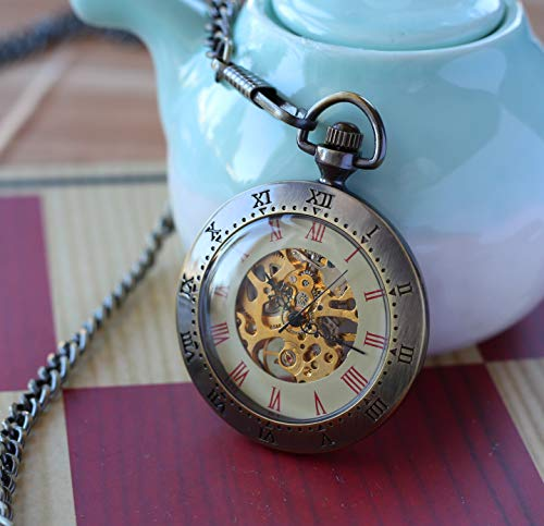 Prefect Wedding Gift Engravable Men's Pocket Watch Personalized Gift Open Face Antique Gold Bronze Pocket watch with chain wedding gifts for groomsmen - Engravable Bronze Antique