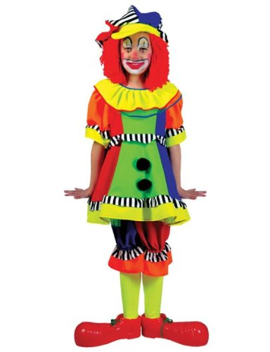 Short Sleeved Spanky Stripes Clown Costume, As Shown, Child Medium (8 to 10)