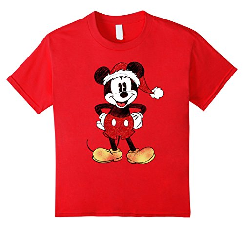 Kids Disney Santa Mickey Mouse Christmas T Shirt