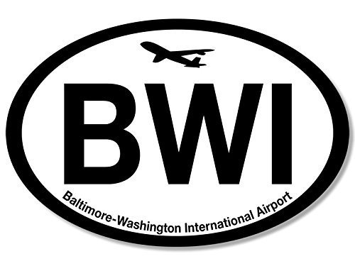 GHaynes Distributing Oval BWI Baltimore Washington Airport Code Sticker Decal (jet fly air hub pilot md) 3 x 5 inch ()