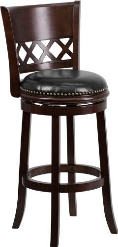 Flash Furniture 29'' High Cappuccino Wood Barstool with Black Leather Swivel Seat (Seat High Swivel 29')