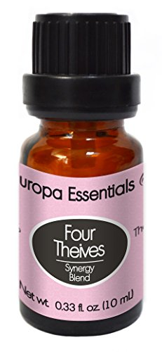 Europa Essentials All Natural FOUR THIEVES Immune System Synergy Essential Oil Blend - 100% PURE Therapeutic Grade, Aromatherapy Blend with Clove, Lemon, Cinnamon Bark, Eucalyptus and Rosemary, 10ml
