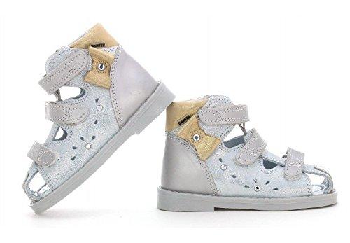Bartek Girls Orthopedic Leather High Sandals Fisherman Style 81789//37X Silver//Golden Toddler//Little Kid