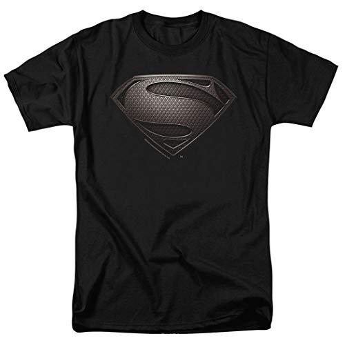 Popfunk Superman Man of Steel Movie Gray Shield Black T Shirt (Medium) for $<!--$18.99-->