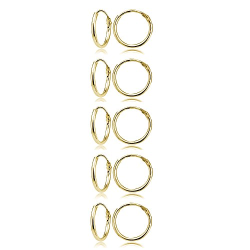 Set of 5 Yellow Gold Flashed Sterling Silver Small Endless 10mm Lightweight Thin Round Unisex Hoop - Small Earrings Hoop Gold