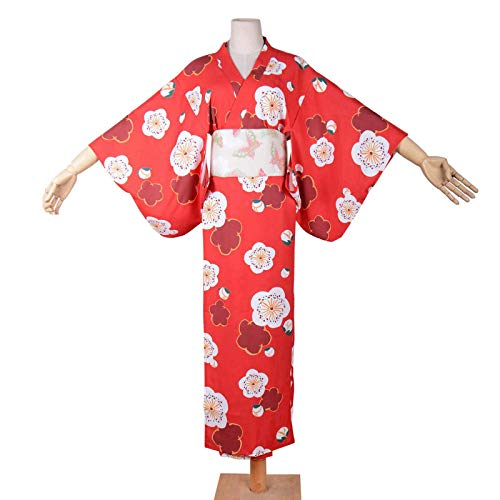 Red Kimono Bathrobe Costume Long Japanese Traditional Yukata Cosplay Women's Sexy Sakura Pattern (Red)]()