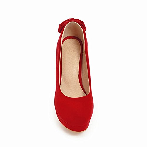 Latasa Womens Bow High Heel Faux Suede Pumps Red sYBbZrA9